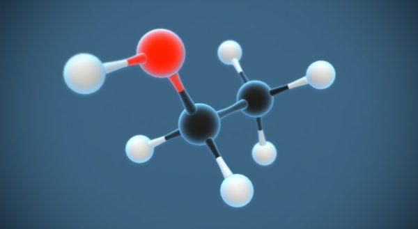 エチルアルコール 分子モデルの3D画像